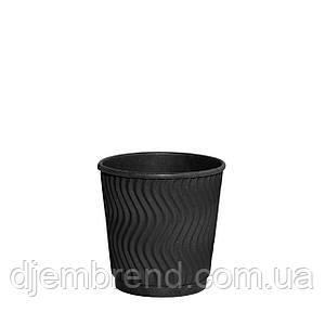 Стакан бумажный гофрированный Double Black волна 110мл 30шт/уп (1ящ/48уп/1440шт)