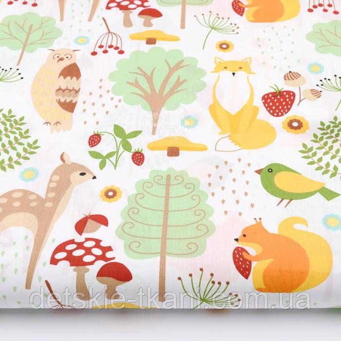 """Лоскут ткани """"Лесная поляна со зверями"""" на белом №2213 размер 30*78 см"""