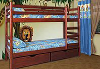 Двухъярусная кровать из массива дерева- Кенгуру. С ящиками в комплекте