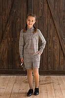Платье детское Татьяна Филавтова модель 187  коричневая  клетка 134