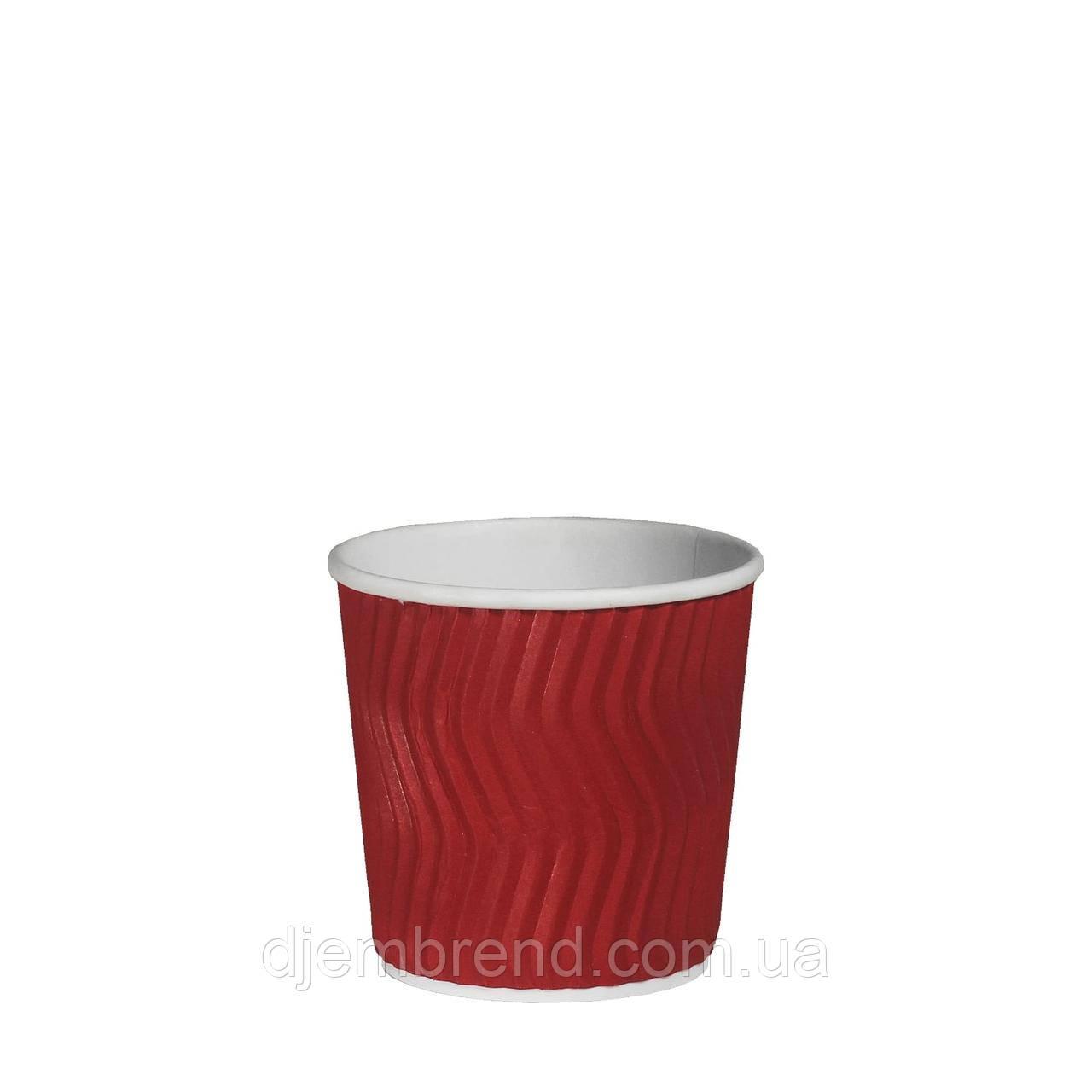Стакан бумажный гофрированный Красный волна 110мл 30шт/уп (1ящ/48уп/1440шт)