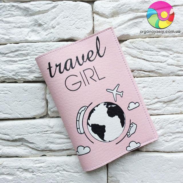 Обкладинка для паспорта Travel girl (рожевий)