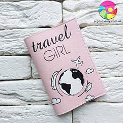 Обложка для паспорта Travel girl (розовый)