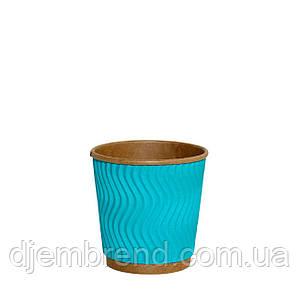 Стакан бумажный гофрированный Голубой волна 110мл 30шт/уп (1ящ/48уп/1440шт)