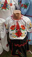 Красива дитяча вишиванка на дівчинку з коротким рукавом . Розміри в зростанні 140-170