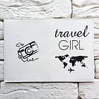 Обкладинка для паспорта Travel girl 3 (білий), фото 3