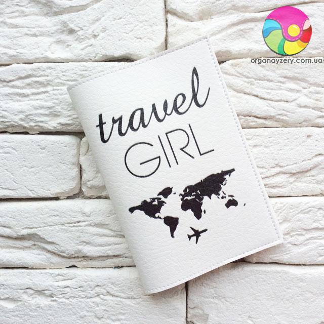 Обкладинка для паспорта Travel girl 3 (білий)