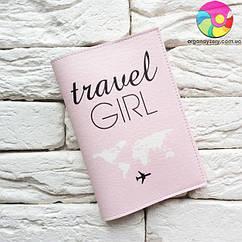 Обложка для паспорта Travel girl 4 (розовый)