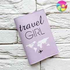 Обложка для паспорта Travel girl 5 (фиолетовый)