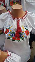 Детская красивая вышиванка на девочку с коротким рукавом . Размеры в росте 140-170
