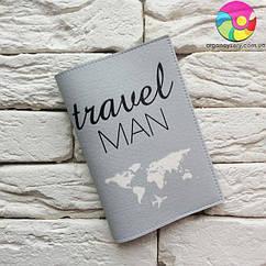 Обложка для паспорта Travel man 2 (серый)