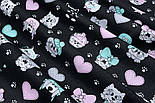 "Лоскут ткани ""Домашние питомцы, лапки, сердечки"" на чёрном №1905, размер 33*80 см, фото 6"