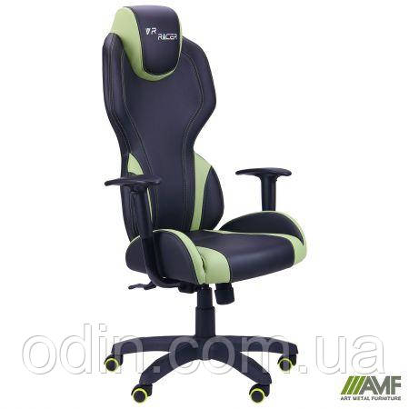 Кресло VR Racer Zeus черный, PU черный/зеленый 515410