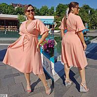 Платье женское летнее легкое лен-габардин большого размера 48-58
