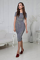 Летнее облегающее платье тельняшка до колена черно белая длина миди