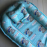 Гнездо-кокон для новорожденного 85Х40 см (подушка для беременной, подушка для кормления) +подушка Мишки бирюза