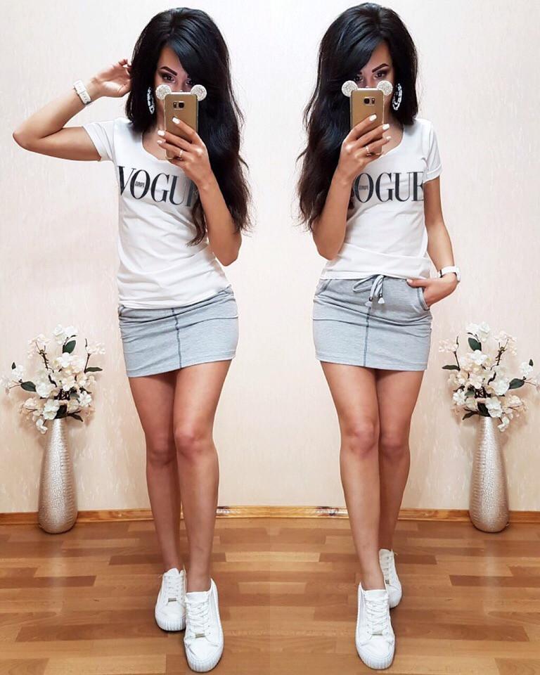 Костюм футболка+юбка, белый+серый