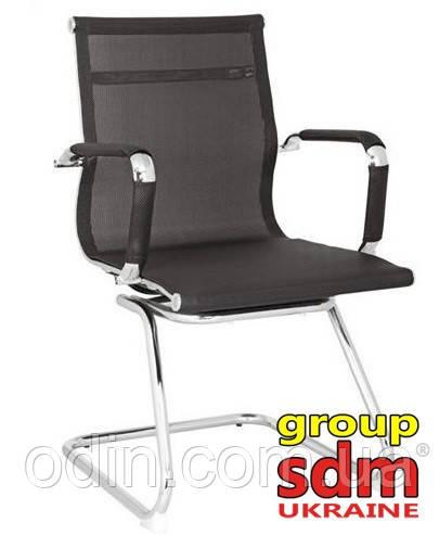 Кресло офисное Невада, сетка, хром, на полозьях, цвет черный NEV-ХBL