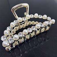 Заколка-краб з кристалами і перлами Shi Wo (Vtnm-white)