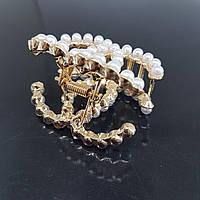 Заколка-краб перли в стилі Chanel золотиста (Vtnm-chanel-pearl-gold)