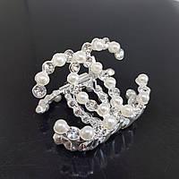 Заколка-краб перли і кристали в стилі Chanel срібляста (Vtnm-chanel-silv)