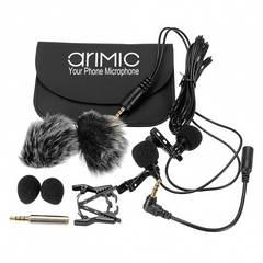 Петличный микрофон двойной AriMic Dualmic c 1.5 м кабелем