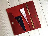 Кожаный тревел-кейс для авиабилетов Goose™ G0016 красный (портмоне), фото 1