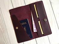 Кожаный кошелек-тревелер Goose™ G0017 бордовый (холдер для документов), фото 1