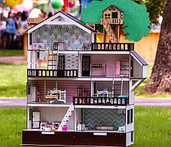 """Кукольный домик NestWood """"Дом приключений"""" венге для кукол ЛОЛ (LOL) + Подарок мебель 9 ед."""