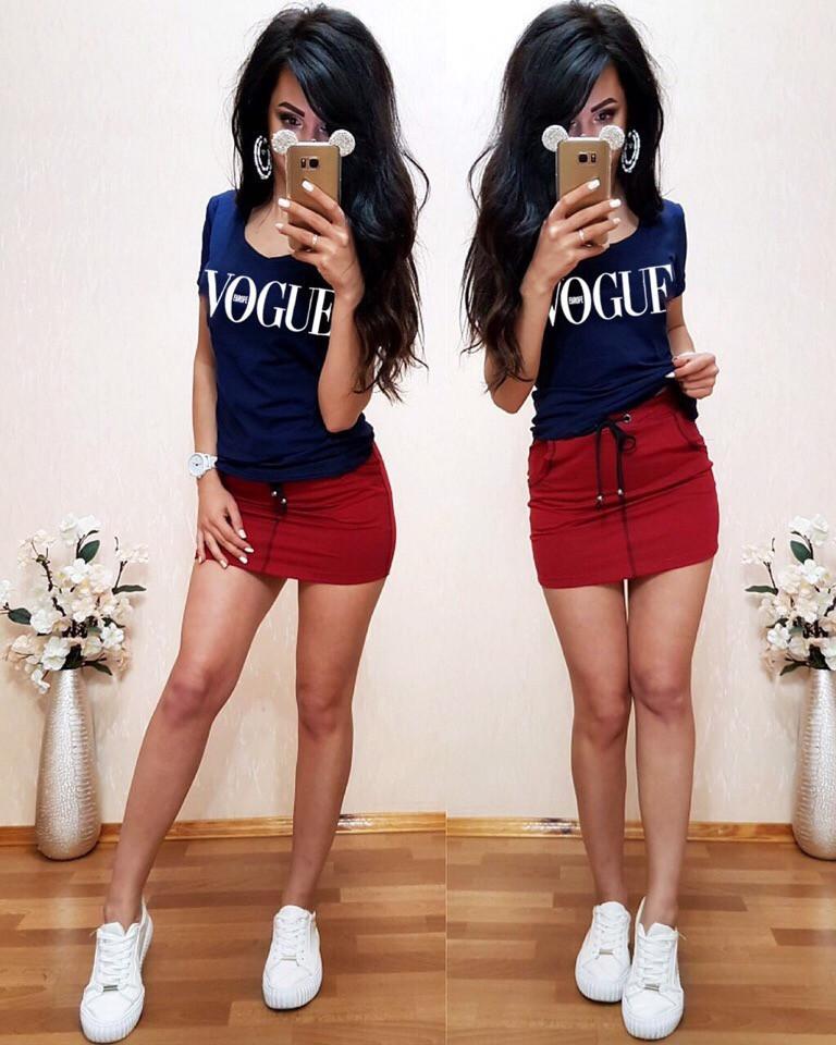 Костюм футболка+юбка, синий+бордо