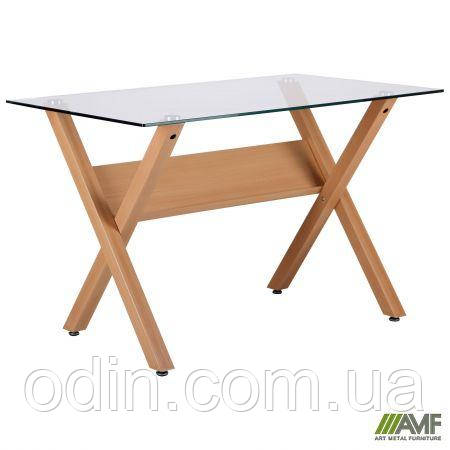 Стол обеденный Maple бук/стекло прозрачное 520661