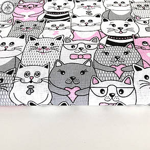 """Польская хлопковая ткань """"коты серо-розовые"""", фото 2"""