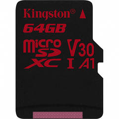 Карта памяти KINGSTON Canvas React microSDXC 64Gb U3 A1 UHS-I