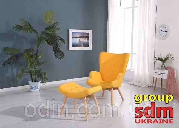 Кресло Флорино с табуреткой, пуфом, цвет желтый FLORYEL-FLORYELOtt