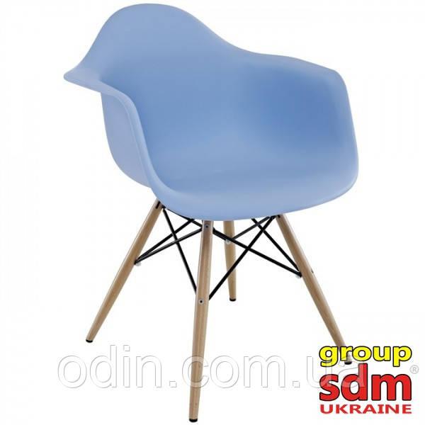 Кресло Тауэр Вуд, ножки деревянные, бук, пластик, цвет голубой SDM18WBLU