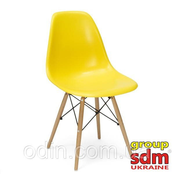 Стул Тауэр Вуд, пластиковый, ножки деревянный, цвет желтый SDM16WYel