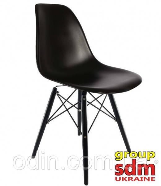 Стул Тауэр Вуд, пластик, ножки дерево черные, цвет черный SDM16BLWbl