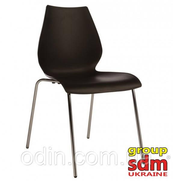 Стул Лили, пластиковый, металл, хром, цвет черный 001018BL