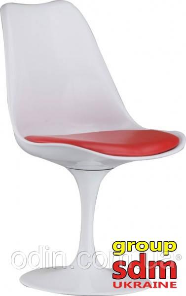 Стул Тюльпан, пластик, цвет белый, подушка красного цвета ChTulWRe