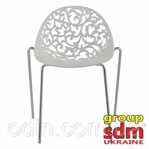 Стул Миа, пластиковый, хромированный, цвет белый 00024WH