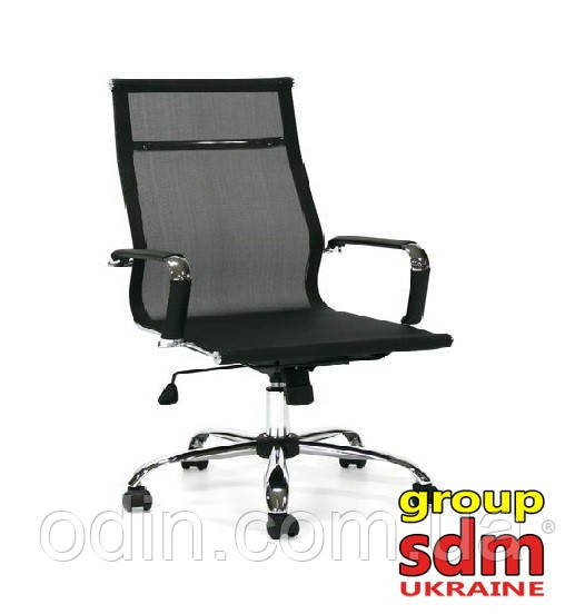 Кресло офисное Невада, сетка, хром, средняя спинка, цвет черный NEV-BL-М