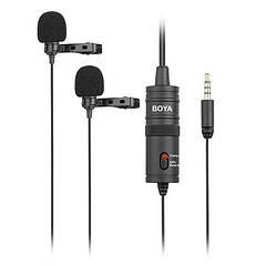 Петличный микрофон двойной BOYA BY-M1DM с 4 м кабелем