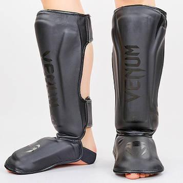 Защита для голени и стопы Муай Тай, ММА, Кикбоксинг VEN (PU, черно-серый, M-XL)