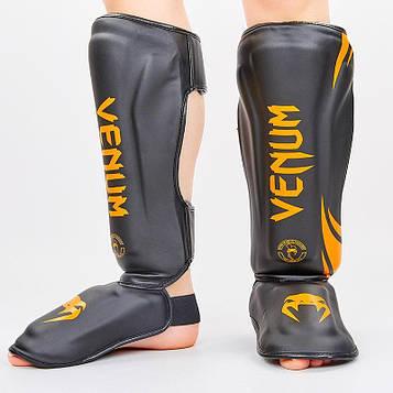Защита для голени и стопы Муай Тай, ММА, Кикбоксинг VEN (PU, черно-оранжевый, M-L)