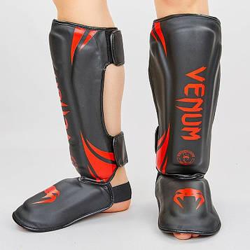Защита для голени и стопы Муай Тай, ММА, Кикбоксинг VEN (PU, черно-красный, M-XL)