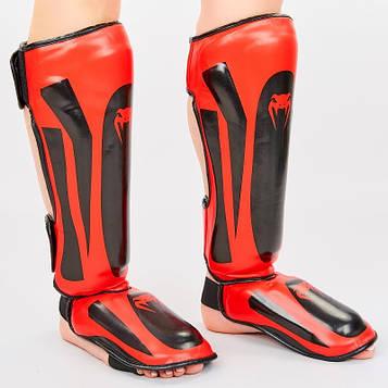 Защита для голени и стопы Муай Тай, ММА, Кикбоксинг VEN (черно-красный, р-ры M-XL)