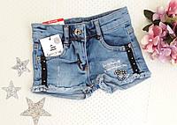 Шорты джинсовые на девочку, тесьма, р. 104-122 года, фото 1
