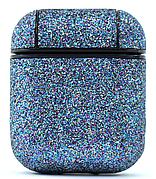 Чехол Oloka для наушников Apple AirPods Glitter series + карабин Голубой с блестками (123161)