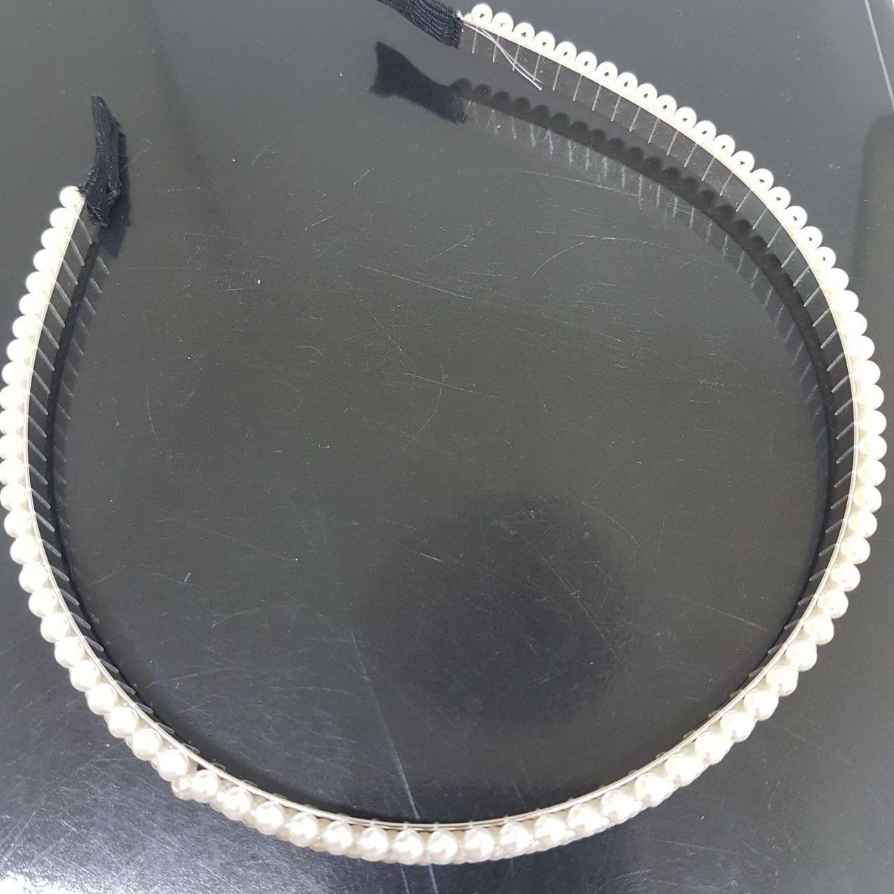 Украшение-ободок для волос Жемчужное плетение в три ряда (Vtnm-obod-3pearl-silver)
