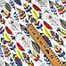 """Польская хлопковая ткань """"перья большые желтые, красные, синие на белом"""", фото 2"""